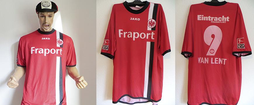 Trikot Eintracht Frankfurt Arie van Lent Matchworn Fraport 2005