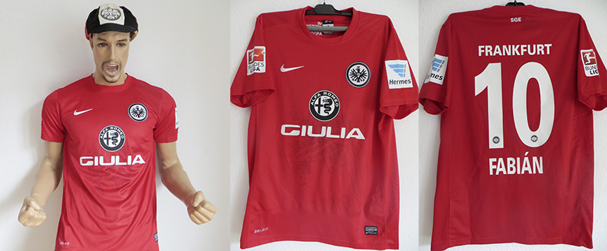 Eintracht Frankfurt Trikot 2016 Alfa Romeo Matchworn Fabian